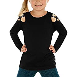 luvamia Girl's Black Long Sleeve Crisscross Cold Shoulder Casual Solid T-Shirt Tee Tops Medim (6-7 Years)