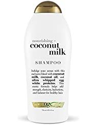OGX Nourishing Shampoo, Coconut Milk, Salon Size, (1) 25.4 Ounce Bottle, Paraben Free, Sulfate Free, Sustainable Ingredients, Hydrating, Balancing and Strengthening