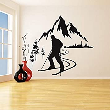 Esquí alpino pegatinas de pared de vinilo esquiador ...