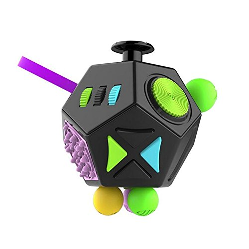 Fidget Dodecagon –12 Side Fidget Toy Relieves Stress and Anxiety Cube Anti depression cube for Children and Adults with ADHD ADD OCD Autism (B2 Black colorful)