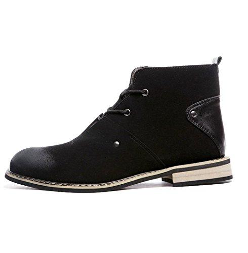 Heart&M cuero del ante de los hombres alta corte puntiagudo dedo del pie zapatos botas Martin Black