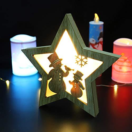 """Coohole 7.57.5"""" Wooden Pentagram LED Lights Christmas Halloween Decoration Bedside Lamp -"""