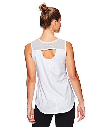 (Gaiam Women's Open Back Yoga Tank Top - Sleeveless Performance Workout Shirt - Bright White, X-Large)