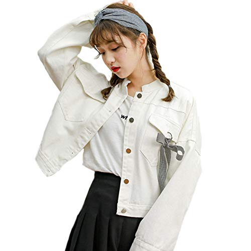 Invernale Denim Pocket Autunno Cappotto Women Bowknot White Donna Fashion Manica Jacket For Lunga Jiakenvde jqL3A54Rc