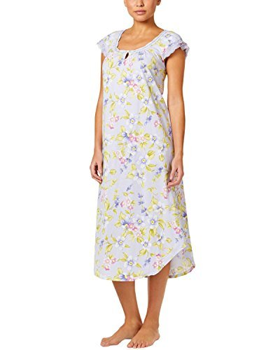 Club Nightgown Cotton Charter (Charter Club Women's Lilac Purple Floral Print Flutter-Sleeve Printed Crinkle Knit Nightgown (XS))