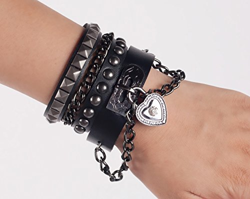 SummitLink Retro Punk Rock Multi Circle Rivet Chain PU Creative Wrap Punk Bracelet (B01) -