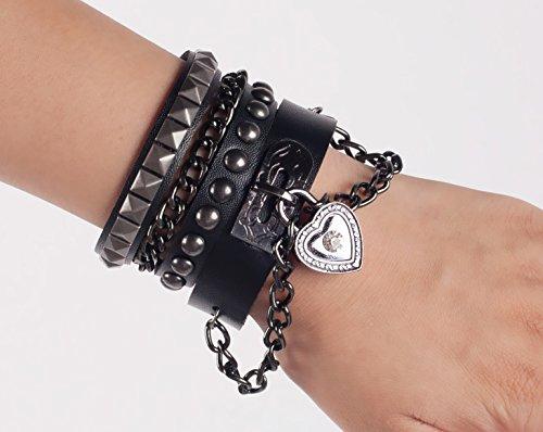 SummitLink Retro Punk Rock Multi Circle Rivet Chain PU Creative Wrap Punk Bracelet (B01)]()