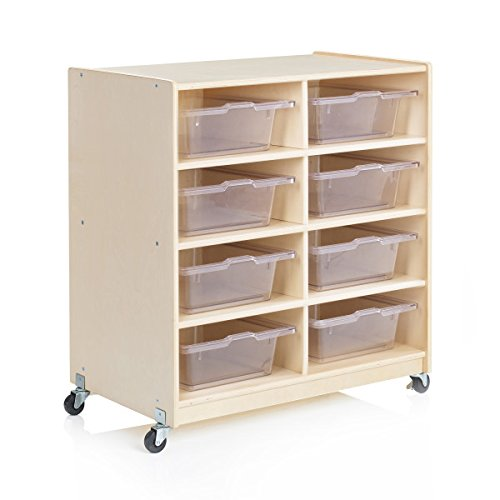 Guidecraft Wooden 8-Bin Storage Unit - Rolling Storage Cubby and Organizer with Plastic Bins, Kids Classroom Furniture, School - Cart Supply Guidecraft Art