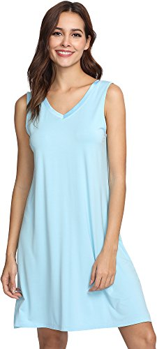 GYS Women's Bamboo Viscose Sleeveless V Neck Nightgown, Large, Pale Blue