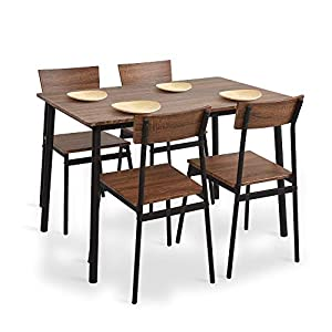 Dporticus 5-Piece Kitchen & Dining Room Sets Rustic Industrial Style Wooden Kitchen Table and Chairs with Metal Frame…