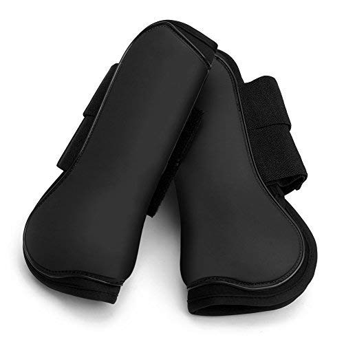 NKTM Open Front Boots Horse Exercise Boots Open Front Jumping Boot - Set of 2 Black