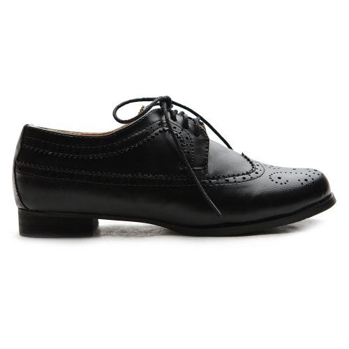 Ollio Mujeres Shoes Lace Up Low Heels Wingtip Vestido Oxford Negro