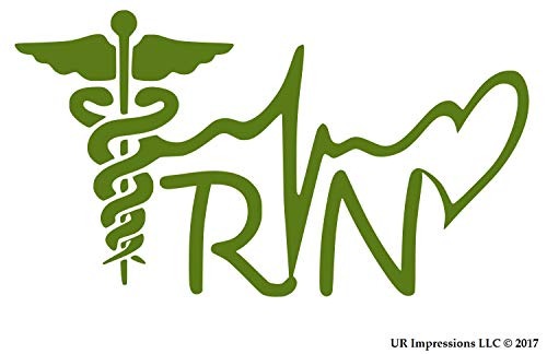 UR Impressions OGrn Registered Nurse - RN Caduceus Lifeline Heart Decal Vinyl Sticker Graphics for Cars Trucks SUV Vans Walls Windows Laptop|Olive Green|7.5 X 4.1 inch|URI338-OG