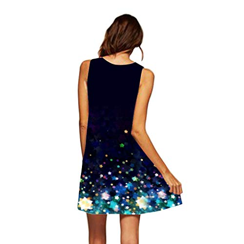 Women Shirt Dress Boho Fashion Printed Sleeveless O-Neck Beach Short Mini Dress Tops Shirt Dress for Women Plus Size by Funnygals (Image #1)