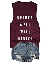 SUPEYA Drinks Well with Others Tank Top Womens Sleeveless Racerback Casual Vest Tops