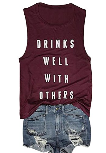 (Womens Drink Well with Others Tank Tops Sleeveless Beer Party T-Shirt Top Vest Size L (Wine Red))