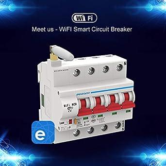 Work with  Alexa Google Home IFTTT QIHONG eWeLink WiFi 4P Intelligent Circuit Breaker Automatic Circuit Breaker Short Circuit Protection Overload