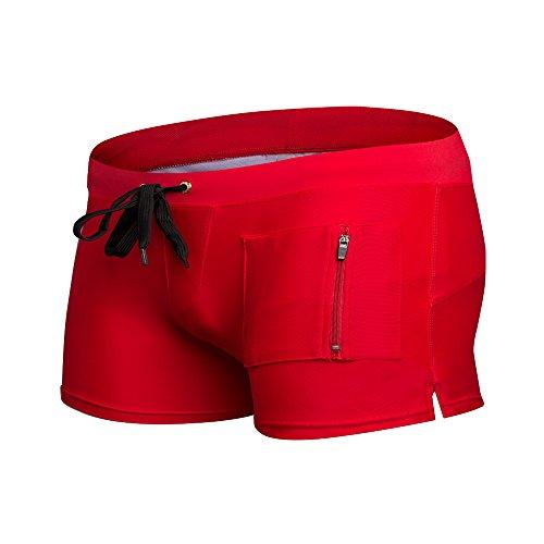 ZQ@QXMode Plage boxer short de natation,XL,red