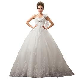 Dearta Women's A-Line One-Shoulder Court Train Wedding Dress UK 14 White