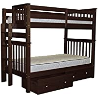 Bedz King Tall Bunk Beds Twin over Twin Mission Style with End Ladder and 2 Under Bed Drawers, Cappuccino
