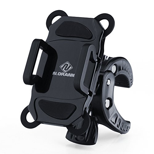 N.ORANIE Bike Phone Mount Universal 360 Degrees Rotating Bicycle Phone Holder Stand with Shock Absorption Clamp and Rubber Straps for iPhone, Samsung, GPS Devices Black