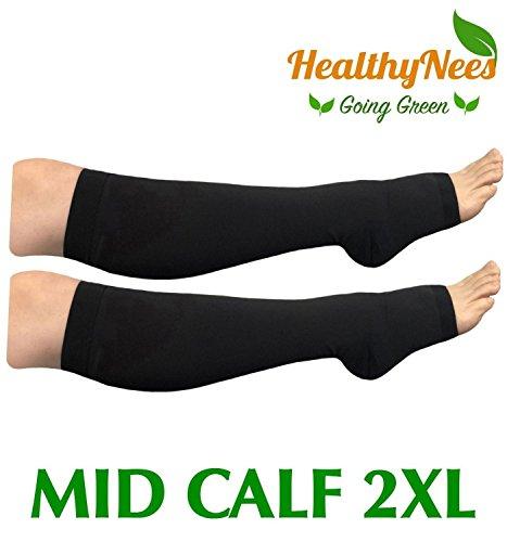 Mid Calf Toe Socks (HealthyNees Big Tall Plus Size Wide Calf & Extra Wide 20-30 mmHg Open Toe Medical Compression Leg Swelling Circulation Men Women Socks (Black, Mid Calf 2XL))