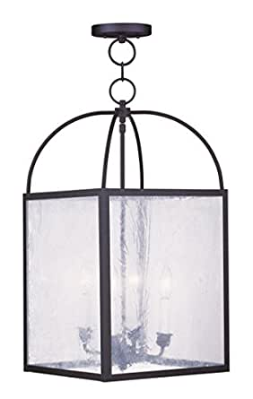 Pendants Porch 4 Light With Seeded Glass Black Finish size 13 in 240 Watts - World of Crystal