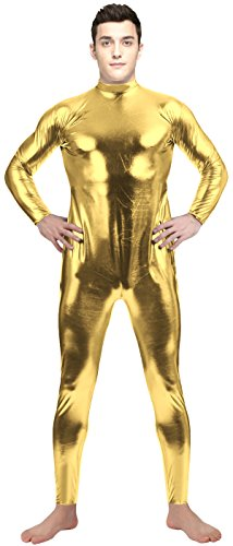 [VSVO Adult Gold Shiny Metallic Long-Sleeve Unitard Bodysuit (Large, Gold)] (Latex Wolf Suit)