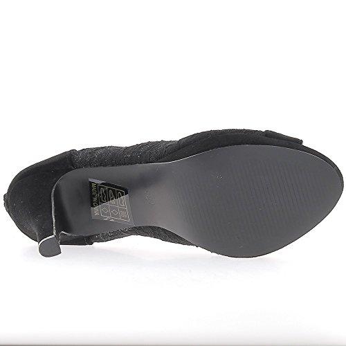 Donna nera pompe tacco fine 11 cm aperto