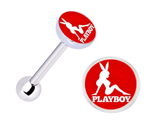 (Officially Licensed Red Playboy Bunny girl Stainless Steel Barbell Tongue Ring piercing Jewelry bar - 14g)