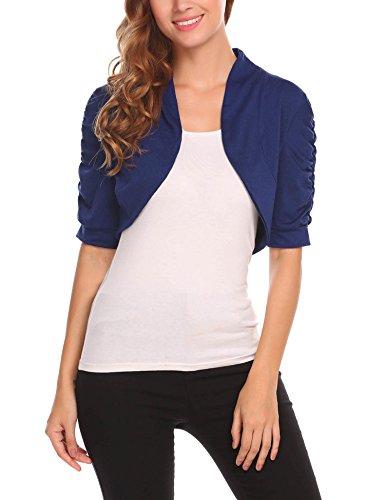 (ELESOL Women's Pleated Side Short Sleeve Light Cropped Knit Sweater Cardigan Navy Blue/XXL)
