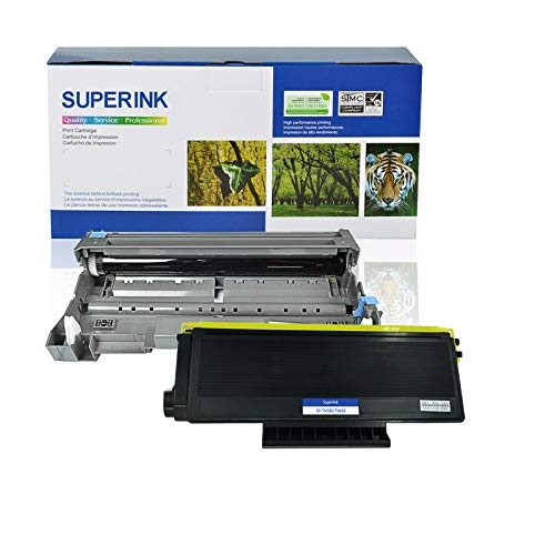 (SuperInk Compatible Brother DR620 Drum TN650 TN620 Toner Cartridge Black High Yield Combo for DCP-8050DN 8080DN 8085DN HL-5340D 5350DN MFC-8370 8480DN 8680DN 8690DW 8880DN Printer (1 Toner + 1 Drum))