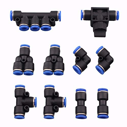Dernord 6mm od Push To Connect Fittings pneumatic fittings kit 2 Spliters+2 elbows+2 tee+2 Straight+1 Manifold+ Hand Valves Ultimate professional set 10 pack Plastic(6mm combo)