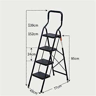 MMWYC 4 Escalera Plegable Escalera 4 escalones Escalera con Mango Antideslizante y Pedal Ancho Resistente Escalera de Acero 330 Libras/Negro/Rojo (4 peldaños Escalera): Amazon.es: Hogar