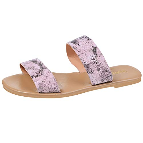 HHei_K Ladies Casual Flats Open Toe Vintage Roman Plus-Size Flat Slippers Sandals Shoes for Women Flats Comfortable Pink]()