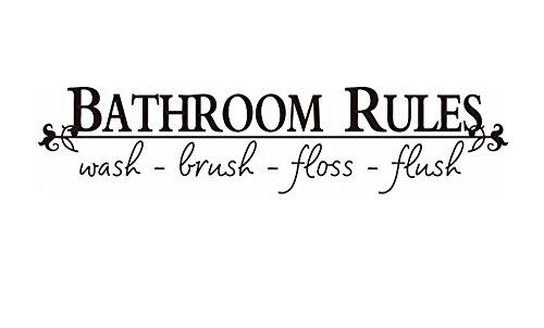 CUGBO Bathroom Rules Decal Wash Brush Floss Flush Wall Art Q