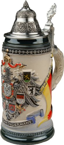 Beer Stein by King - Deutschland CoA Full Relief Rustic German Beer Stein 0.4l Limited by KING