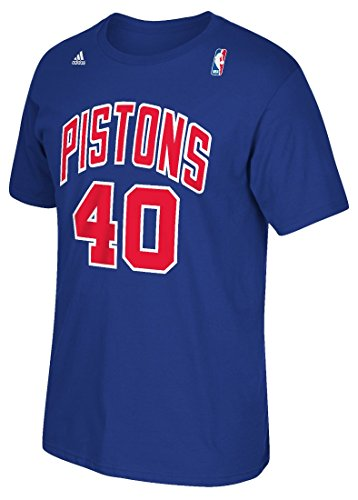 Detroit Pistons Bill Laimbeer Adidas 1989 Throwback Blue Shirt (Medium) (1989 Detroit Pistons)