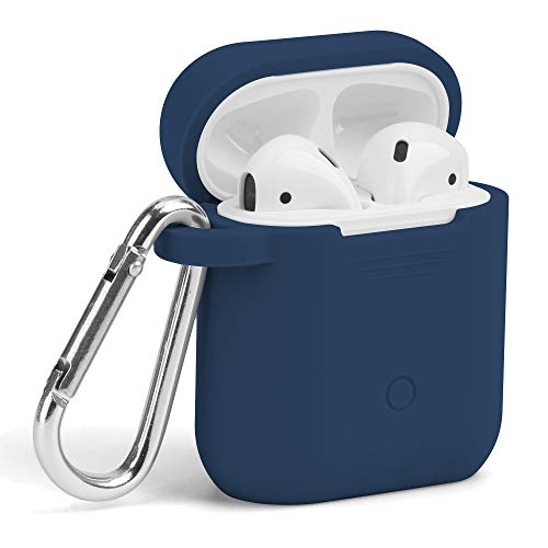 Blue Earbud Covers - AirPods Case, GMYLE Silicone Protective Shockproof Wireless Charging Airpods Earbuds Case Cover Skin with Keychain Accessory kit Set Compatible for Apple AirPods 1 & 2 2016-2019 - Navy Blue
