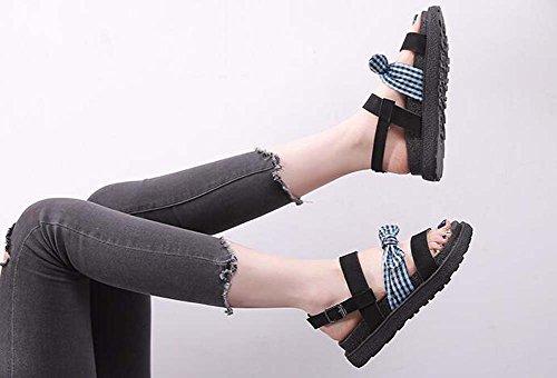 de zapatos romanos arco moda Zapatos mujer nuevo cómodos sandalias de zapatos Green gruesas planos verano wvTS7xq
