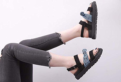 gruesas Green Zapatos cómodos de nuevo mujer zapatos verano romanos planos de zapatos moda sandalias arco XHq1XU