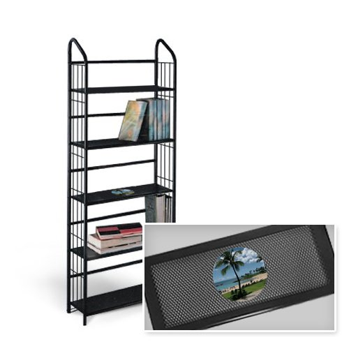 New 5 Tier Black Metal Finish Shelf featuring Hawaii Beaching Logo by The Furniture Cove