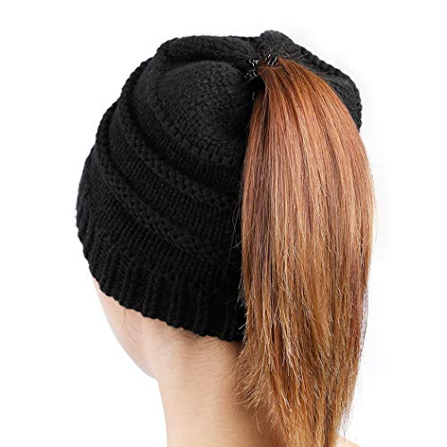 Tusscle Ponytail Beanie Hats for Women, Winter Warm Ponytail Hats Soft Stretch Cable Knit Messy High Bun Knitted bun Hats for Outdoor Black