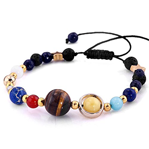 CH Women Handmade Galaxy Solar System Bracelet Universe Nine Planets Star Natural Stone Beads Bangle