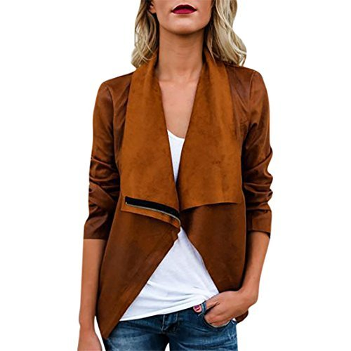 Mose New Womens Casual Long Sleeve Autumn Winter Faux Suede Ethnic Tops Open Front Jacket Coat (Brown, Size:XL)