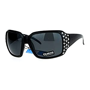 SA106 Polarized Lens Oversize Rhinestone Bling Iced Out Womens Sunglasses All Black