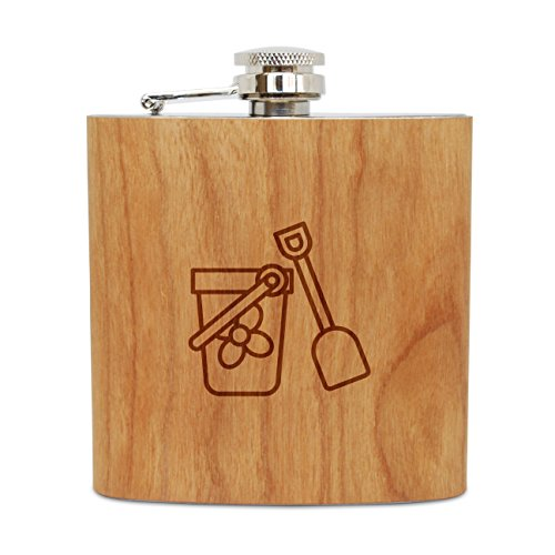 - WOODEN ACCESSORIES COMPANY Cherry Wood Flask With Stainless Steel Body - Laser Engraved Flask With Sand Pail Design - 6 Oz Wood Hip Flask Handmade In USA