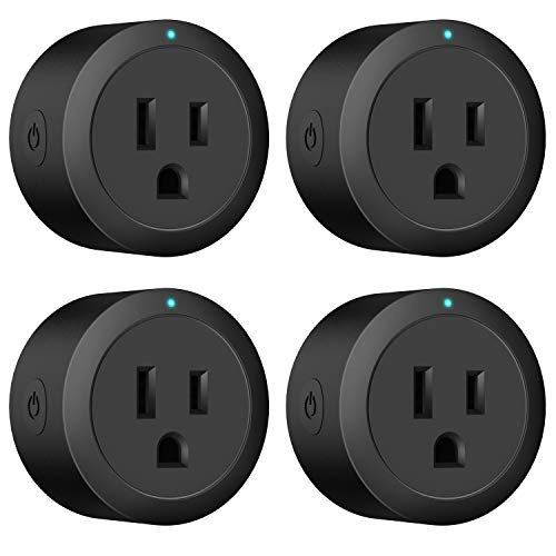 Smart plug Black Amysen, Smart Wifi Outlet, works with Alexa and Google Home, ETL Certified, Only Supports 2.4GHz Network, No Hub Required, Control Your Devices from Anywhere (4 PACK, BLACK X)