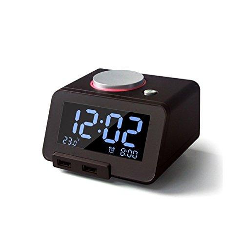 Glovion Digital Melody Alarm Clock with Dual Hub USB Charger&3.2