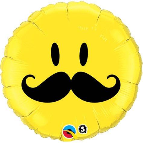 - Round Smiley Face Moustache Foil Balloon